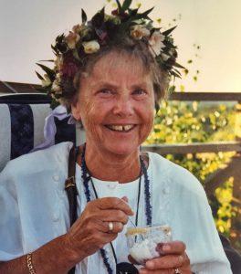Gertrud Roxendal på sin 70-års dag, juli 2001
